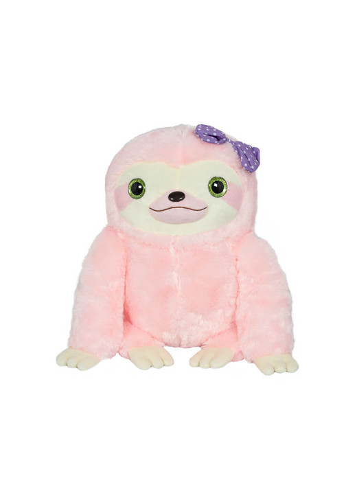 Amuse Pink Sloth with Purple Dotted Bow Plush - Front