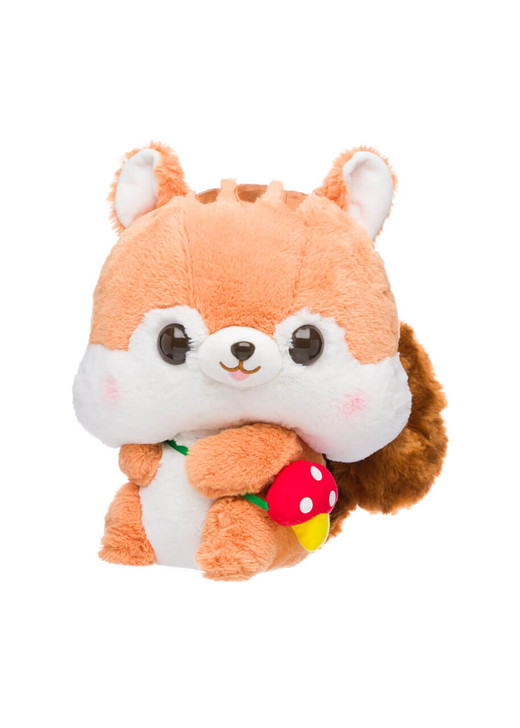 Amuse Fuzzy Tail Squirrel with a Mushroom Satchel Plush - Front