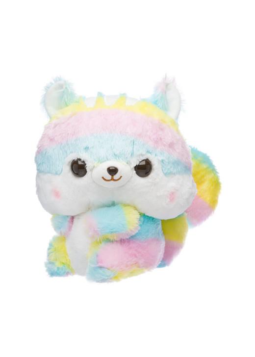 Amuse Fuzzy Tail Rainbow Squirrel Plush - Front