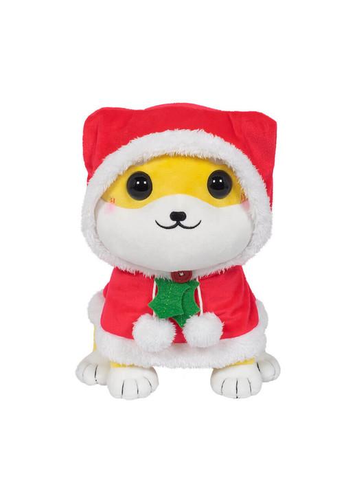 Honeymaru Holiday Shiba Inu Plush with the hoodie on - Front Angle