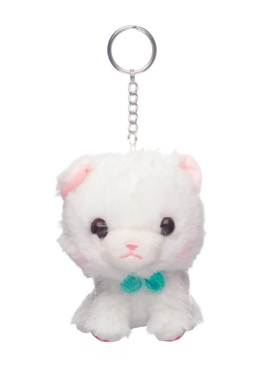 Amuse Myu White Cat Plush Keychain - Front Angle