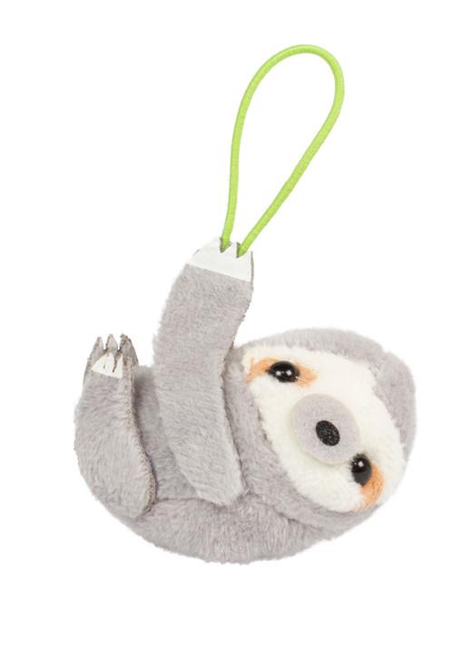 Amuse Sloth Bean Filled Plush Elastic KeyChain Front Angle