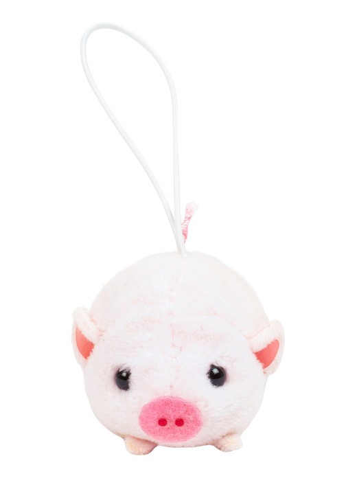 Amuse  Bean Filled Pig Plush Keychain Front Angle