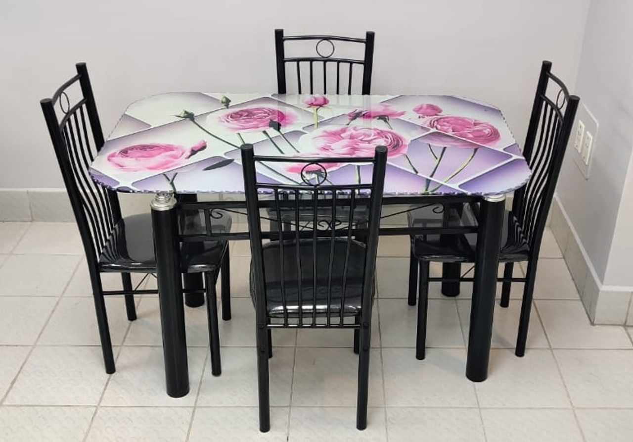 Glass Dining Table With 4 Chair Set H775 A Ally Sons