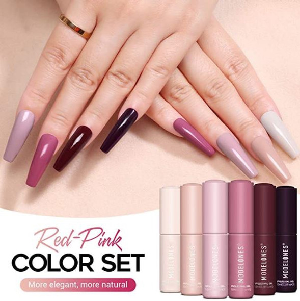 Nails Modelones Gel Polish Kit with Light Starter 6x10ML Colors, 10ML Base and Top Coat Beginner pink