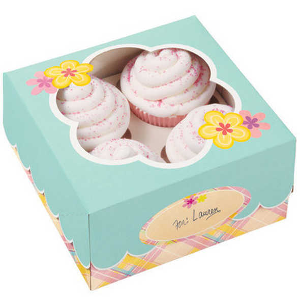 "BAKING WILTON CUPCAKE BOXES 3PCS 6.25"" X 6.25"" X 3"" HOLDS 4 CUPCAKES 415-0003"