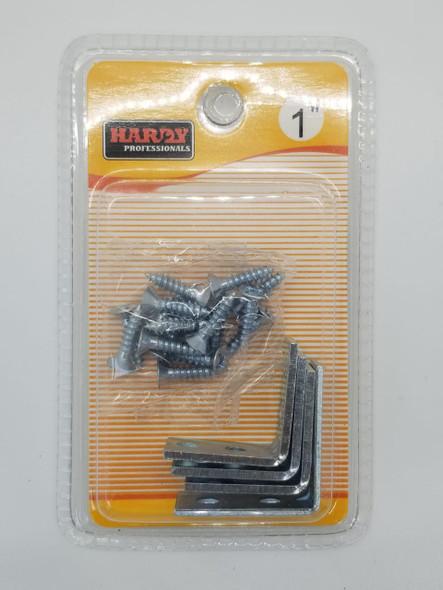 """ANGLE CORNER BRACKET 1"""" HARDY 4PCS PK W/SCREW"""