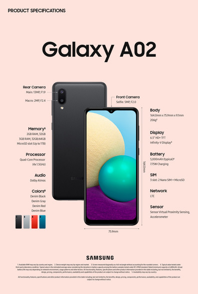 CELLPHONE SAMSUNG GALAXY A02 64GB SM-A022M/DS
