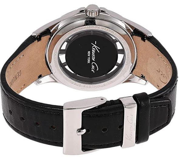 Watch Men Kenneth Cole New York Transparency Quartz Stainless Steel and Black Leather 10022286