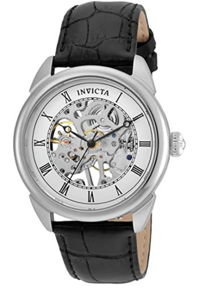 Watch Men Invicta  Specialty 42mm Stainless Steel and Leather Mechanical Black 23533