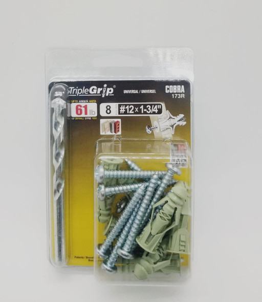 "COBRA ANCHORS 173R TRIPLE GRIP #12 X 1-3/4"" 61LB"
