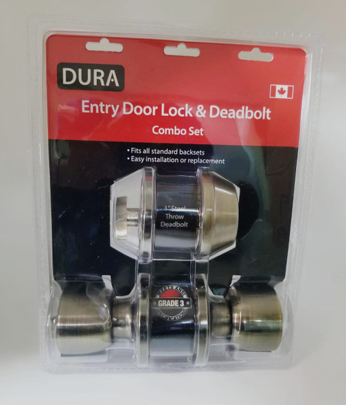 LOCK DURA COMBO KNOB & DEADBOLT ANTIQUE BRONZE 5932ET+7301ABVP