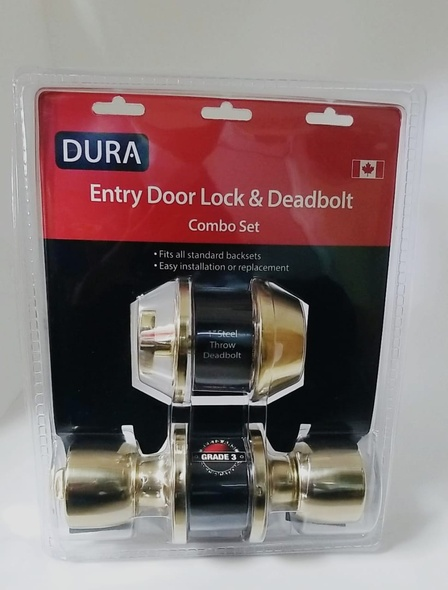 LOCK DURA COMBO KNOB & DEADBOLT GOLD 5932ET+7301PBVP