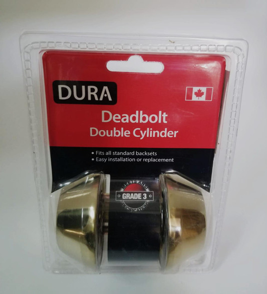 LOCK DURA DEADBOLT DOUBLE GOLD #7312PBVP