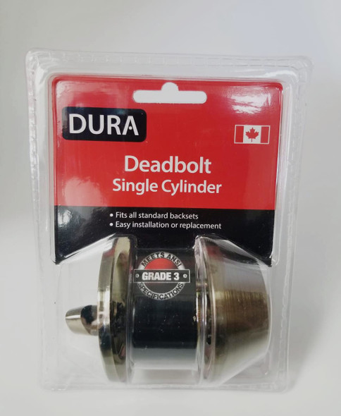 LOCK DURA DEADBOLT SINGLE ANTIQUE BRONZE #7301ABVP