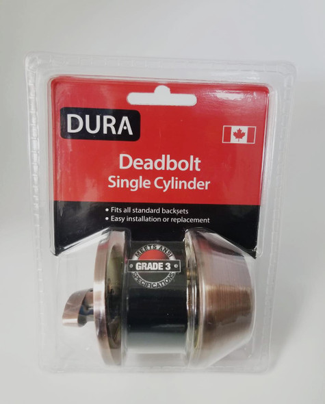 LOCK DURA DEADBOLT SINGLE ANTIQUE COPPER #7301ACVP