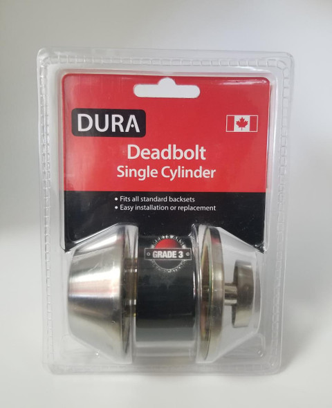 LOCK DURA DEADBOLT SINGLE STAINLESS STEEL #7301SSVP