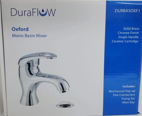 FAUCET DURAFLOW OXFORD DURBASOXF1 WITH POP UP WASTE