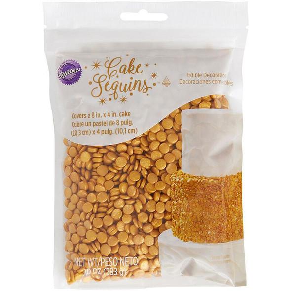 BAKING WILTON CAKE SEQUINS GOLD 710-1270 10oz 283g