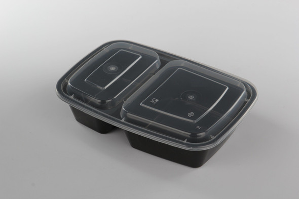 FOOD BOWL BLACK WITH LID IDEAL LF-32 32oz 2 Compartment