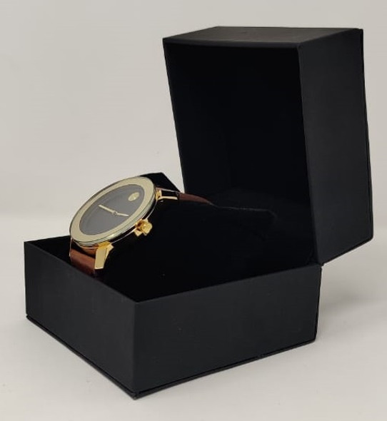 Watch Fashion Generic Men Gold With Brown Leather Smooth Strap