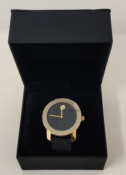 Watch Fashion Generic Men Gold With Black Leather Smooth Strap