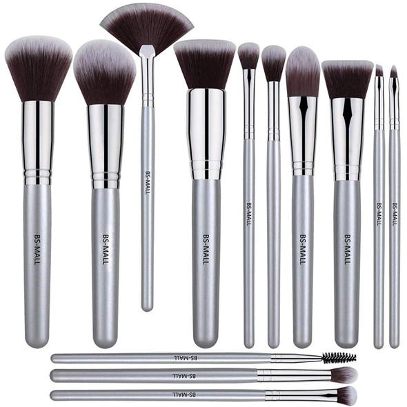 Makeup Brushes BS-Mall 12 Pcs Set Premium Synthetic Silver Foundation Blending Blush Face - Powder Brush Kit