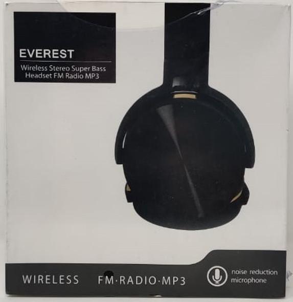 HEADPHONES EVEREST WIRELESS WITH MIC FM RADIO MP3 STEREO SUPER BASS