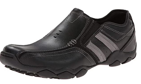 Footwear Skechers Men's Diameter Zinroy Slip-On Black Leather Loafer