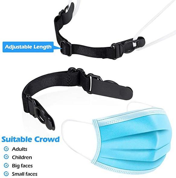 Mask Extender Strap Ear Saver Adjustable Black Washable