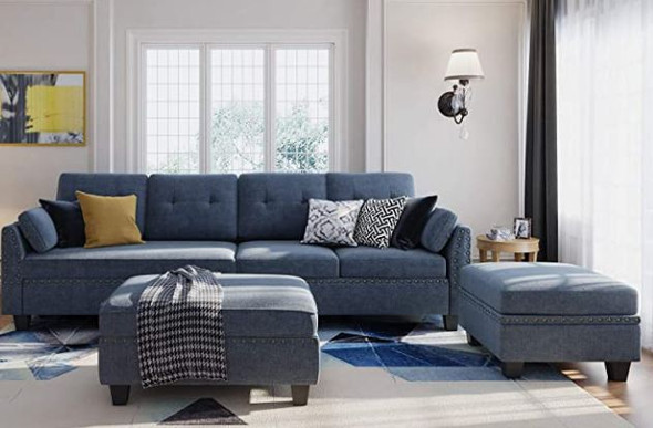 Sofa Sectional Modern Honbay with Storage Ottoman Bluish Gray