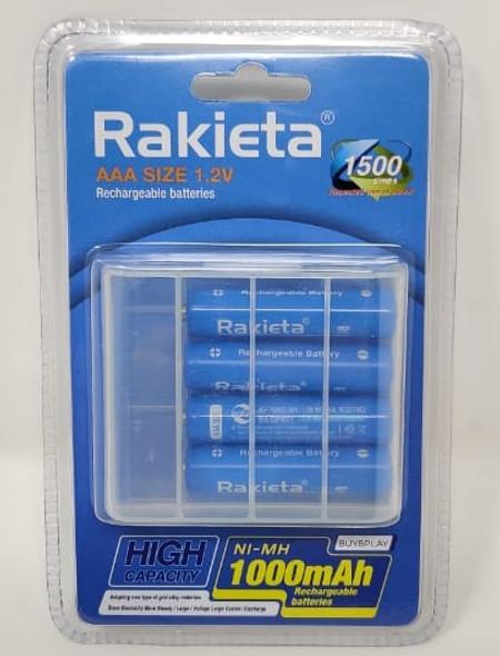 BATTERY RAKIETA RECHARGEABLE AAA BLUE 1000MAH 1.2V 4PCS PACK