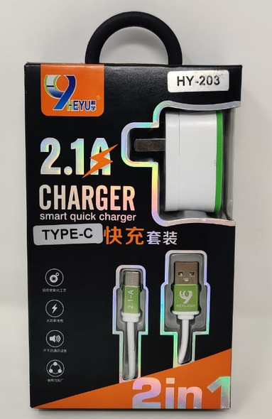 CHARGER CABLE USB HEYU HY-203 TYPE-C 2IN1 2.1A