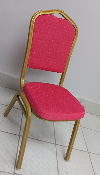 CHAIR WAITING GOLD & RED METAL WITH SPONGE