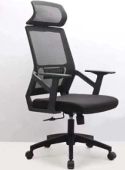 CHAIR OFFICE BLACK WITH HEAD & ARM REST 806
