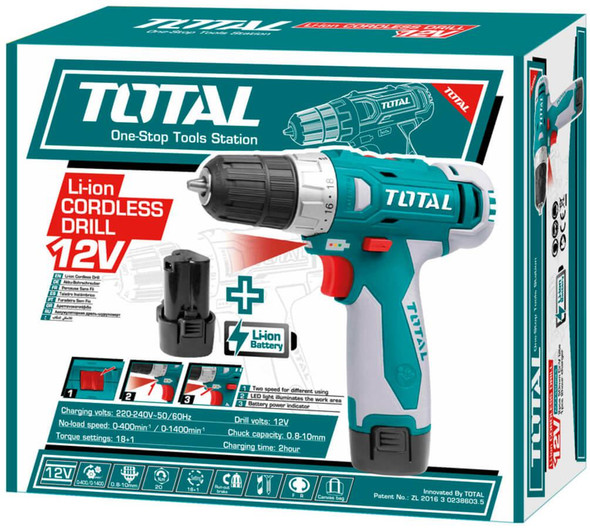 DRILL GUN TOTAL UTDLI228120 12V LITHIUM ION