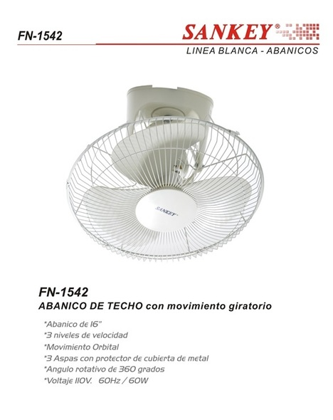 "FAN 16"" CEILING (OSC) SANKEY FN-1542 110V"