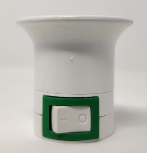 ADAPTOR 2 PIN WHITE & GREEN PLUG TO SOCKET SCREW WITH SWITCH