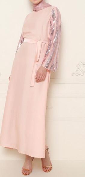 Dress Abaya w/band sequin sleeve pink