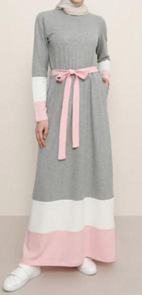 Dress Colorblock Grey & pink
