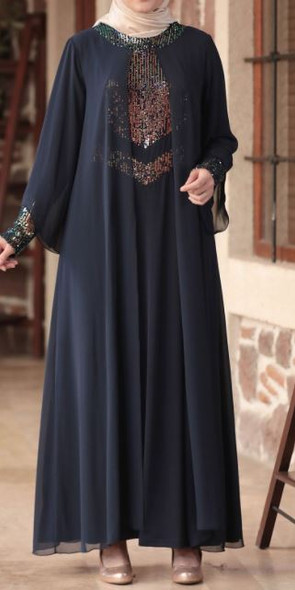 Dress Navy Sequin Details Gown Style