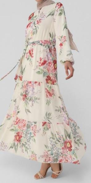 Dress Lined Chiffon Floral multi pink green