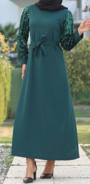 Dress Emerald Sequin sleeve w/band