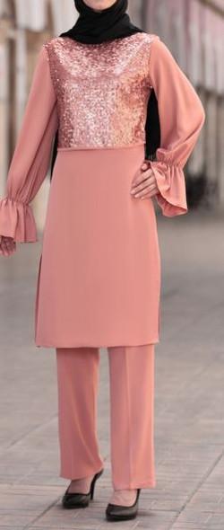 Pants Suit Set sequin bodice Dark blush
