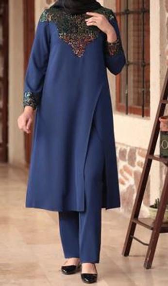 Pants Suit Set Sequin blue plus size