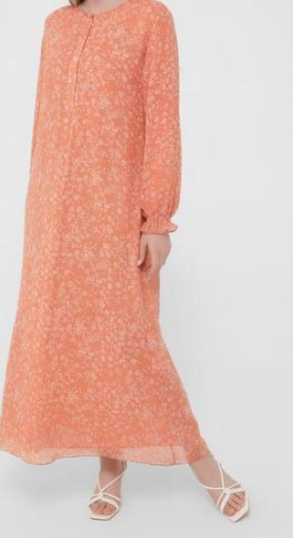 Dress Lined Chiffon Floral orange plus size