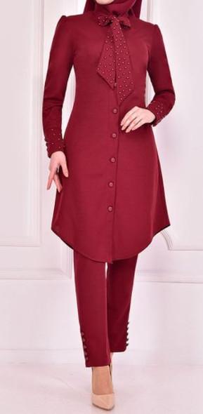Pants Suit Set Burgandy button down