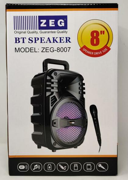 """SPEAKER BOX ZEG 8"""" ZEG-8007 BT (POWERED) ACTIVE RECHARGEABLE"""