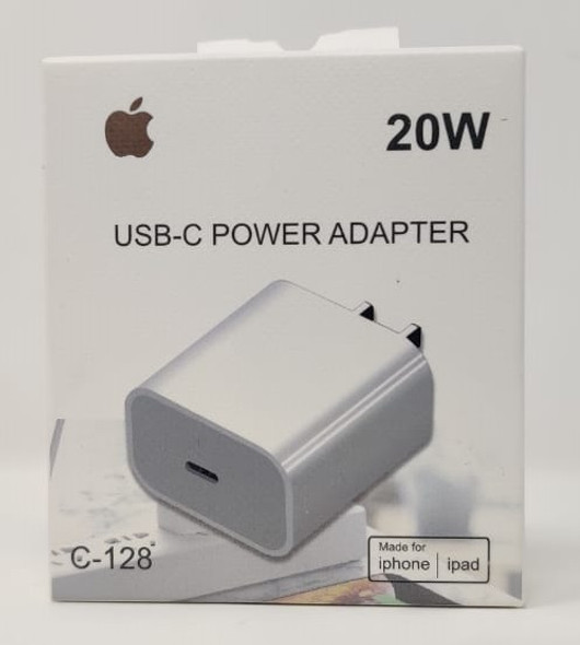 CHARGER USB-C POWER ADAPTOR 20W C-128 FOR IPHONE