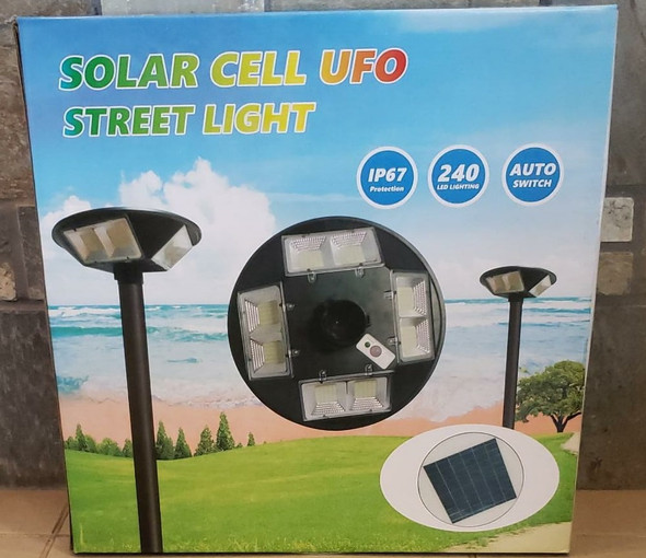 SOLAR LIGHT 200W UFO LED WITHOUT POLE STREET 4-WAY BUILT-IN PANEL